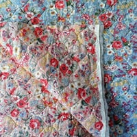 Vintage Reversible PreQuilted Unfinished Fabric/Square 32 by 32 Inch/Blue Florals on One Side/Pink Florals on Reverse Side/PreQuilted Fabric