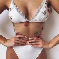 White Spaghetti Strap Plunge Flower Embroidery Sheer Mesh Bodysuit