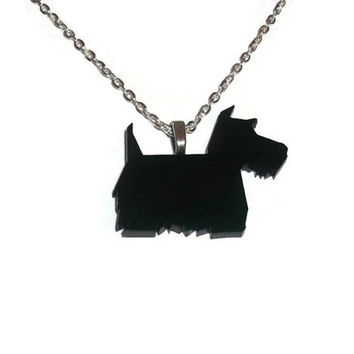 Scottie Dog Necklace, Cute Perspex Black Laser Cut Animal, Quirky Kitsch Jewelry