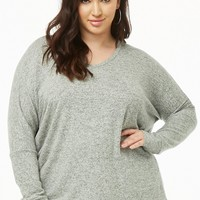 Plus Size Marled Brushed-Knit V-Neck Sweater