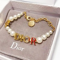 DIOR New Popular Woman Pearl Hand Catenary Bracelet Accessories Jewelry