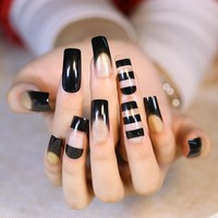 24pcs Hollow acrylic tips Kawaii Fake Nails with Golden Glitter Black Transparent Glitter Long Square Head Full Cover Soft