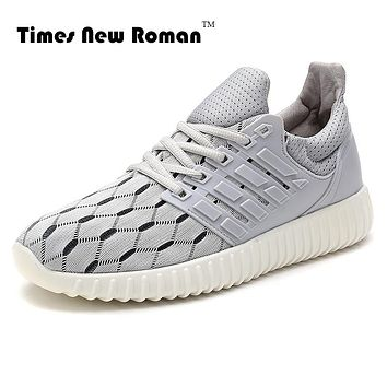 Times New Roman Brand Cotton Fabric Rubber Sole Breathable Solid Casual Shoes Men Summer Style Mesh Flats For Men