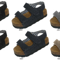 Toddler Boys Denim Footbed Sandal with Velcro Straps Case Pack 72