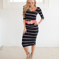 Enticing Dress in Black and White Stripes
