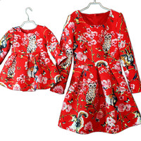 2016 Autumn Matching Mother and Daughter Long Sleeve Princess Dress Jacquard Weave Owl Dress Family Matching Clothing Outfit