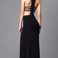 Long Black Formal Dress with Cut Outs and Racerback