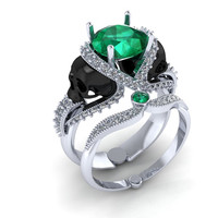 Skull Engagement Ring Silver with Green Emerald