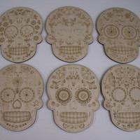Sugar Skulls, 6 Pieces,  Laser Cutouts, Unfinished Wood, Dia de los Muertos, Calavera, Day of the Dead, Woodcrafting Pieces,Wood Ornaments