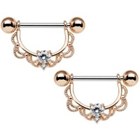 "14 Gauge 5/8"" Clear CZ Rose Gold Plated Scalloped Dangle Nipple Ring Set"