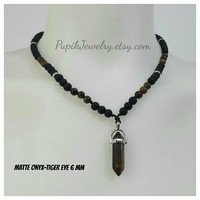 UNIQUE JEWELRY Matte Onyx-Tiger Eye Necklace 6 mm,Custom Jewelry,Beaded Necklace,Men's Jewelry,Men's Beaded Necklaces,Unique Jewelry,