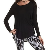 Curved Hem Ribbed Long Sleeve Tee by Charlotte Russe