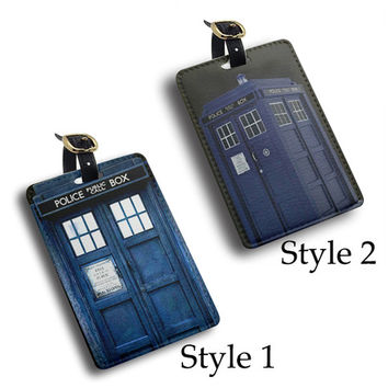 tardis doctor who police door pu leather Luggage Tag Travel Tag, Bag Tag, ID Tag, travel accessories gift (K19)