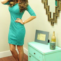 Leave Me Laceless Dress: Turquoise