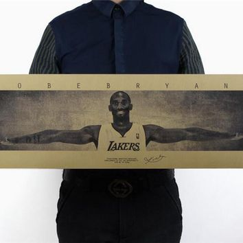 Vintage NBA Basketball Star KB 24 Kobe Bryant Wings Poster Retro Kraft Paper Bar Cafe Home Decor Painting Wall Sticker 72.5x24cm