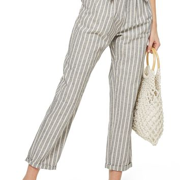 Topshop Belted Stripe Roll-Cuff Trousers | Nordstrom