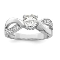 925 Sterling Silver Rhodium Plated Cubic Zirconia Ring