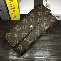 LV Trending Women Leather Metal Buckle Plaid Print Purse Wallet Handbag I-MYJSY-BB