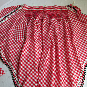 Red White Checked Gingham Ladies Hostess Apron Chicken Scratch Embroidery Smocking Pintucked Vintage Kitchen Accessory