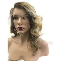 BROWN BLOND BALAYAGE ~ Soft Brazilian Human Hair ~ Lace Front Wig @ 150% density & 12 Inches Long