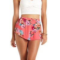 FLORAL PRINT HIGH-WAISTED DOLPHIN SHORTS