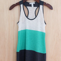 Essential Summer Color Block Tank, Azure
