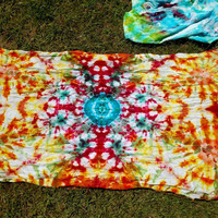 Bright Vivid Sun Ice Dyed Tie Dye Kaleidoscope Mandala Tapestry Banner Wall Hanging - No Fade Guarantee