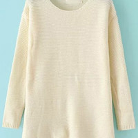 Beige Loose Fitting Knit Sweater with Side Slits