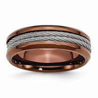 Men's Stainless Steel Ridged Edge Chocolate IP-plated Cable Wedding Band Ring: RingSize: 7