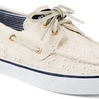 Sperry Top-Sider Bahama Eyelet 2-Eye Boat Shoe IvoryEyeletCanvas, Size 9.5M  Women's Shoes