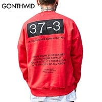 GONTHWID Embroidery Hoodies Mens 2017 Autumn Winter Letter Printed Fleece Sweatshirts Hip Hop Swag Pullover Hooded Red Yellow