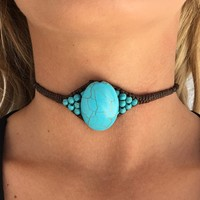 Tiger Mist Turquoise Choker