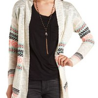 Open Front Aztec Cardigan by Charlotte Russe - Ivory Combo