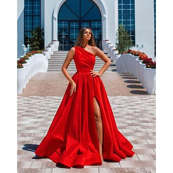 Festival Red A Line Long Prom Dresses Side Split One Shoulder Vestidos De Fiesta Ruched Cheap Bride Party Evening Formal Dress