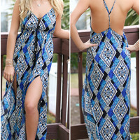 High Profile Blue Boho Print Pattern Maxi Dress