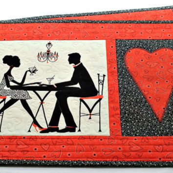 Valentine Placemats, Quilted Table Mats, Red Black Place Mats, Valentine Table Decor, Set of 2 placemats, Quiltsy Handmade
