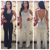 Sleeveless V Shape Back Cut Out Jumpsuit