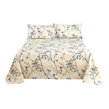 Tache Poplin Cotton Elegant Leaf Vine Cream Beige Flat Sheet (JHW-842)