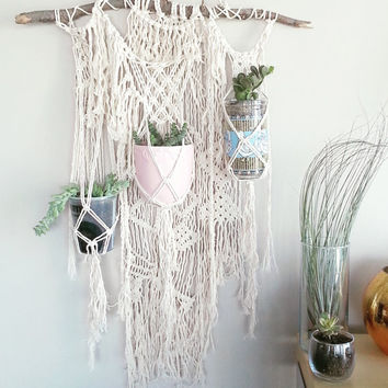 CUSTOM~ 3 Plant Macrame Hanging Planter- Wall Accent- Bohemian Decor- Dorm Decor~ Modern Macrame- White Wall Accent- BohoChic Home Decor
