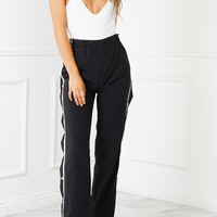 Wilder Side Slit Button Pants - Black
