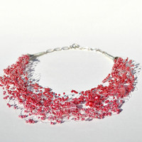 Red Necklace, Beaded Seed Bead Jewelry, Wedding Necklace