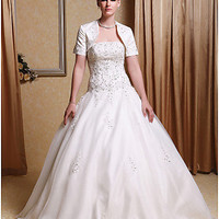 [USD $ 197.99] Ball Gown Strapless Floor-length Wedding Dress With Satin Wrap