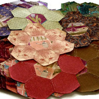 48 Handmade Hexagonal Flower Shapes Made From Vintage 1990s Designer Fabrics, English Paper Pieced Orphan Quilt Blocks, Free US Shipping