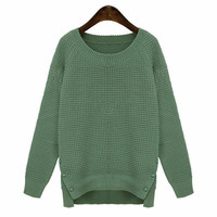 Buttoned Side Slit Knitted Sweater