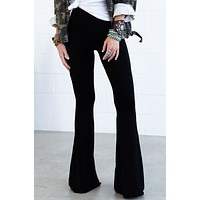 Cher Solid Raw Edge Flare Pant - Black