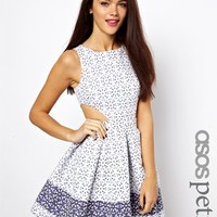 ASOS PETITE Exclusive Skater Dress In Broderie Anglaise - White/blue
