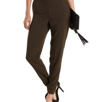 Olive High-Waisted Skinny Trousers by Charlotte Russe