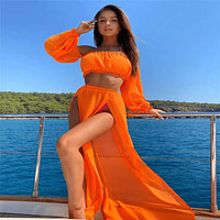 Sheer Cover Ups For Bathing Suits Crop Top And Skirt Set