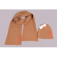 Prada Men's and women's fashion accessories winter warm scarf cover hat two-piece
