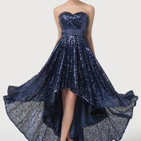 Navy Blue Sequined Off Shoulder High-Low Evening Dress